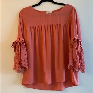 Loft pink top with bell sleeve